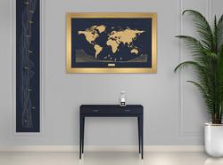 Cadre doré - fond bleu marine