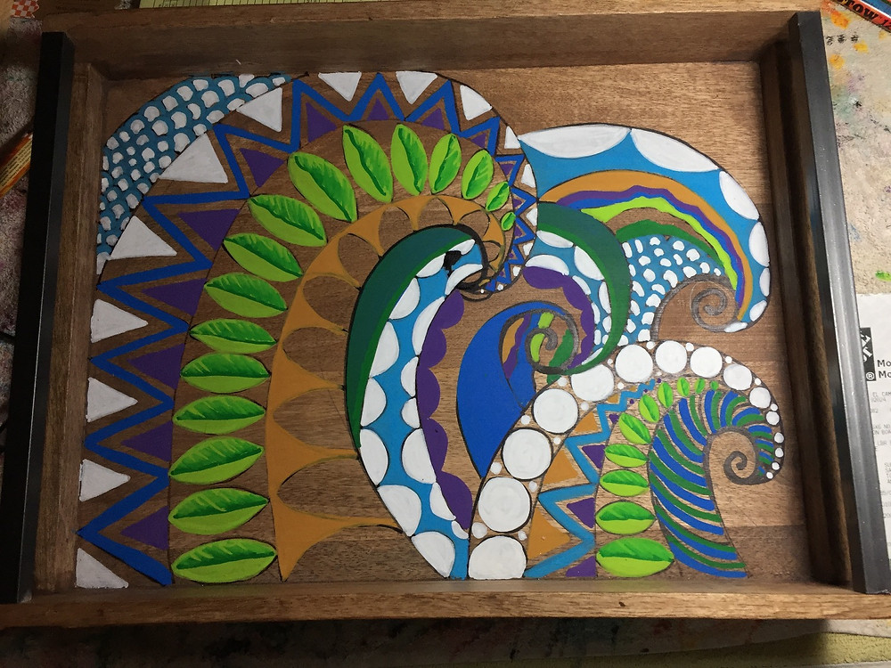 Tribal Tray in progress. All the details and tell tale black needs to be added.