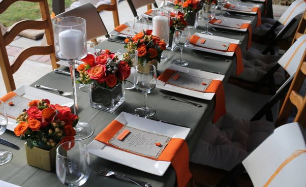 Modern Dinner Party Orange and Grey La Tea Da By Ruth Los Angeles Table Setting
