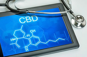 Tablet with the chemical formula of CBD.