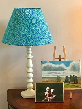 Bright blue and green block print cotton