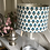 Thumbnail: Turquoise block print flower 30cm drum shade with champagne lining
