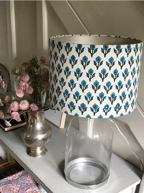 Turquoise block print flower 30cm drum shade with champagne lining