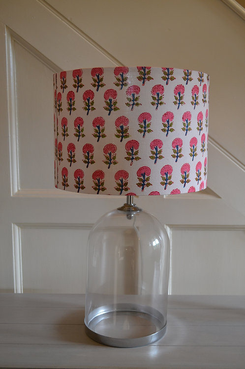 Annabel's Bazaar pink, red, blue and green flower 30cm drum lampshade