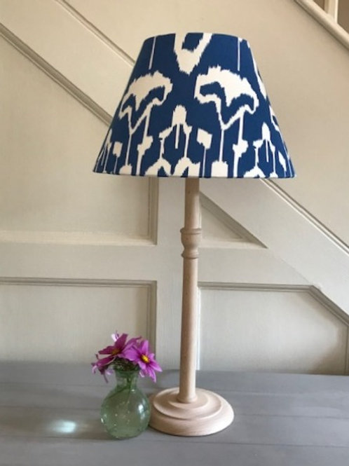 30cm blue and ivory ikat print coolie lampshade