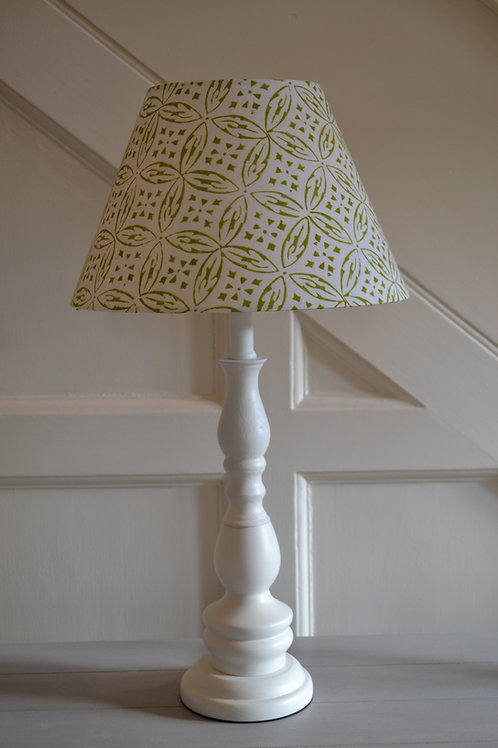 30cm olive and white petal block print cotton coolie lampshade