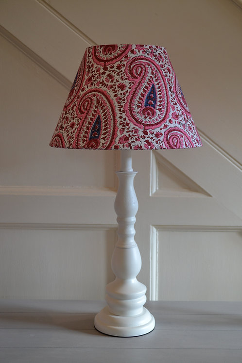 30cm pink paisley block print coolie lampshade