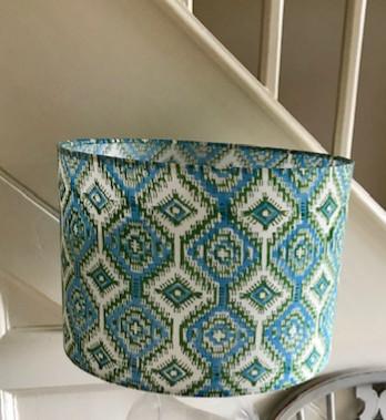 Turquoise and green geometric block prin