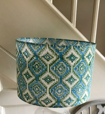 Turquoise and green geometric block prin