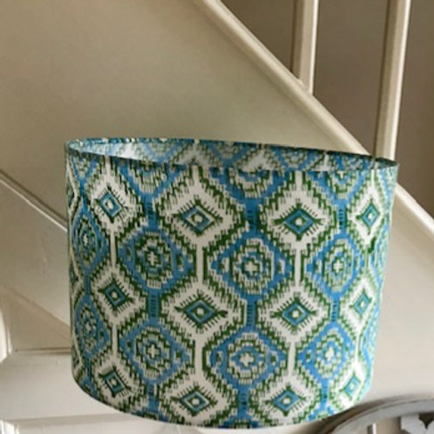30cm Drum Geometric green and turquoise block print lampshade