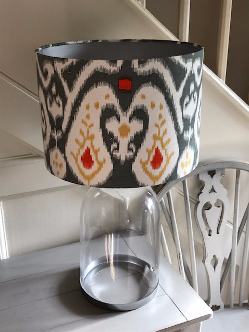 30cm Drum, grey cotton ikat print with silver lining