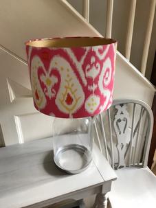 Fuschia pink cotton ikat, gold lining 30