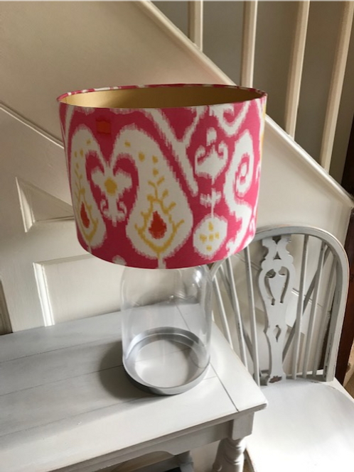 30cm drum, fuschia pink cotton ikat with gold lining