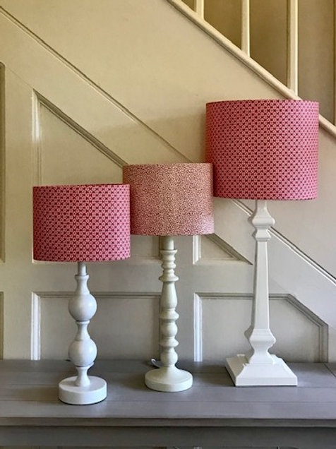 25cm Handmade drum lampshade in raspberry pink small scale floral fabric.l