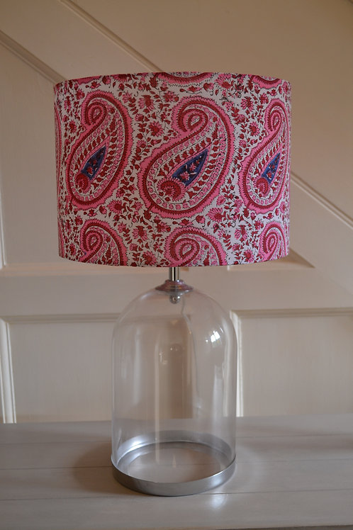 30cm hand made pink paisley block printed drum shade with transparent lining