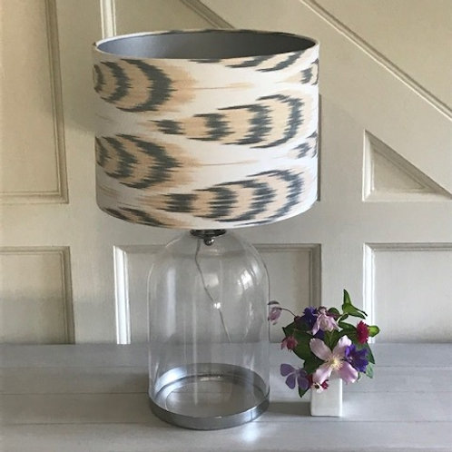 Annabel's Bazaar grey, oyster pink and ivory silk ikat  30cm drum lampshade