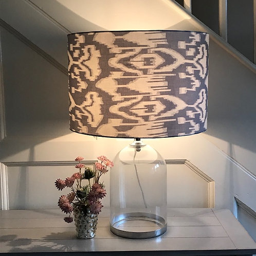 40cm smoky grey and ivory ikat drum lampshade