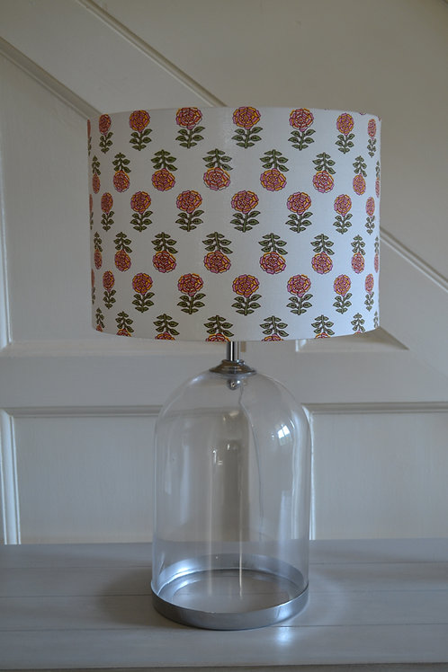 Annabel's Bazaar pink and yellow flower 30cm drum lampshade