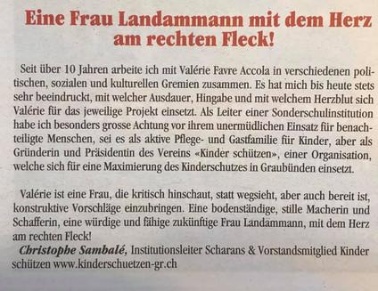 Frau Landammann mit einem Herz am rechten Fleck!