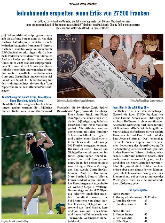 DZ Bericht Paul Accola Charity Golfturni