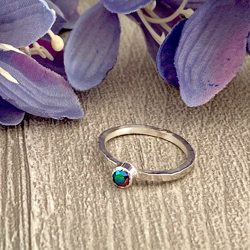 Swarovski Crystal Stacking ring -Crystal Scarabaeus Green
