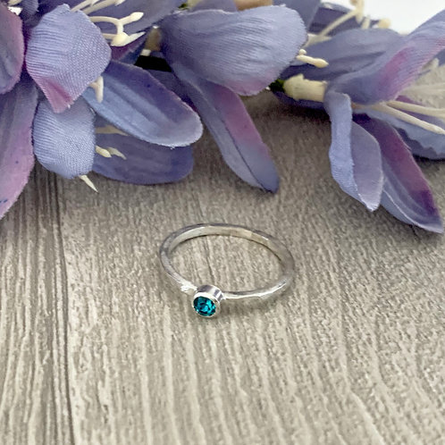Swarovski Crystal Stacking ring -Blue Zircon