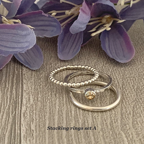 Swarovski Crystal Stacking Ring Set - Crystal Golden Shadow