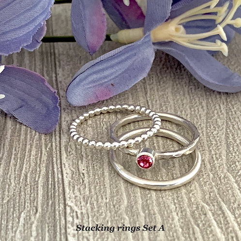 Swarovski Crystal Stacking Ring Set - Rose