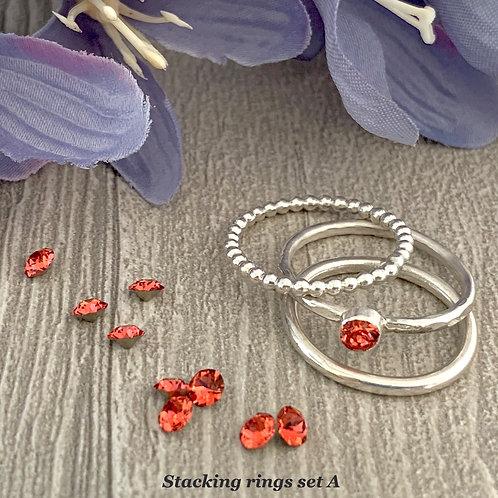 Swarovski Crystal Stacking Ring Set - Padparadscha