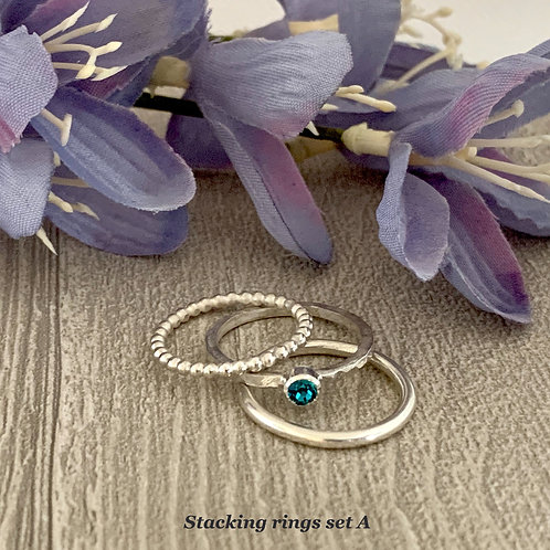 Swarovski Crystal Stacking Ring Set - Blue Zircon