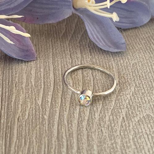 Swarovski Crystal Stacking ring- Crystal Shimmer