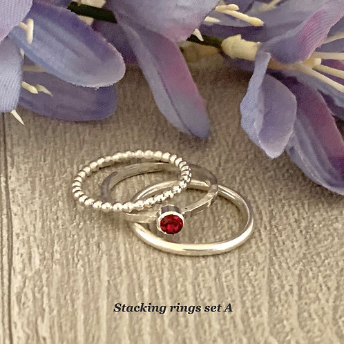 Swarovski Crystal Stacking Ring Set - Ruby