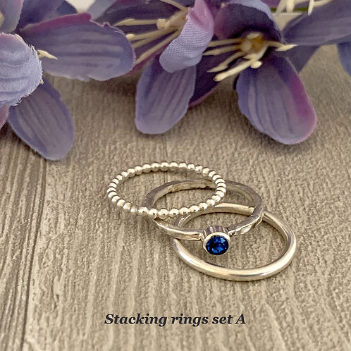 Swarovski Crystal Stacking rings - Capri Blue