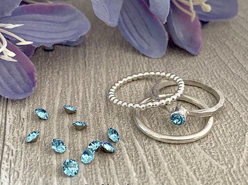 Swarovski Crystal Stacking Ring Set - Aquamarine