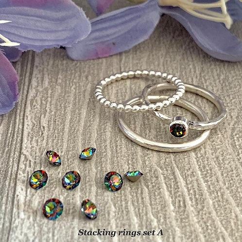 Swarovski Crystal Stacking Ring Set - Crystal Vitrail Medium