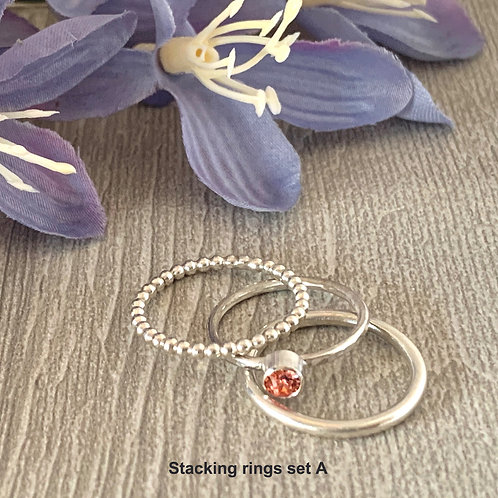 Swarovski Crystal Stacking rings - Rose Peach