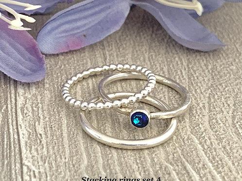 Swarovski Crystal Stacking Ring Set - Crystal Bermuda Blue
