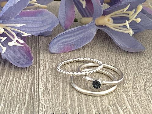 Swarovski Crystal Stacking Ring Set -Graphite