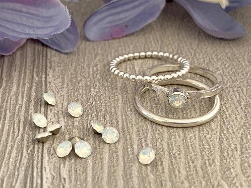 Swarovski Crystal Stacking Ring Set - White Opal