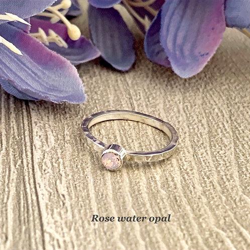 Swarovski Crystal Stacking ring - Rose water opal