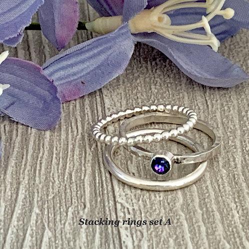 Swarovski Crystal Stacking Ring Set - Crystal Heliotrope