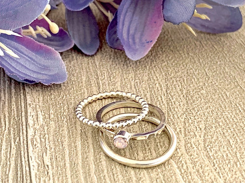Swarovski Crystal Stacking Ring Set - Rose water opal
