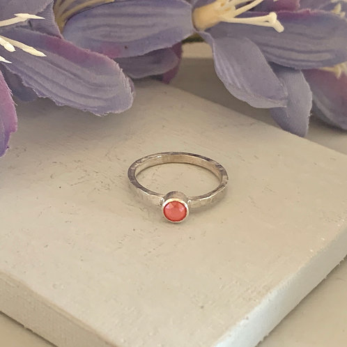 Swarovski Crystal Stacking ring- Crystal Light Coral