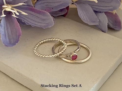 Swarovski Crystal Stacking rings - Crystal Peony Pink