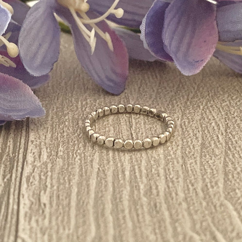 Simple sterling stacking ring (hammered beaded)