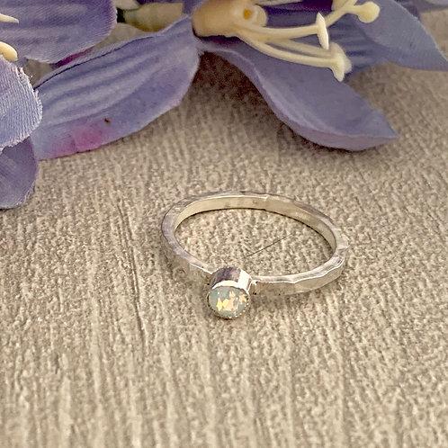 Swarovski Crystal Stacking ring - White opal