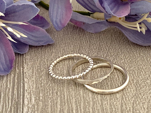 Sterling silver stacking ring set E