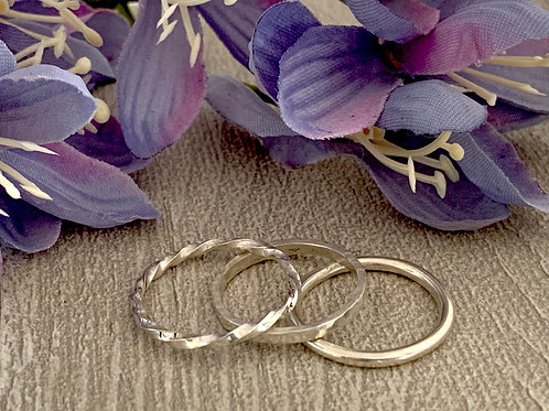 Sterling silver stacking ring set D