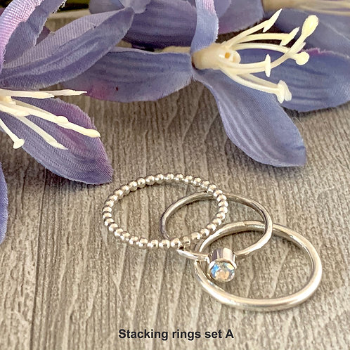 Swarovski Crystal Stacking rings - Crystal Shimmer