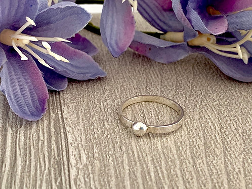 Simple Sterling Stacking ring (with silver ball)